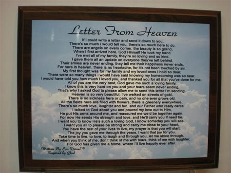 up letter to a loved one letter from heaven for loss of loved one religous by giftworks