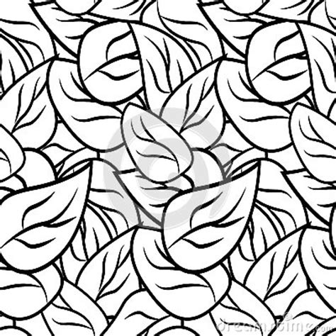 nature pattern black and white black and white doodle pattern with leaves stock vector