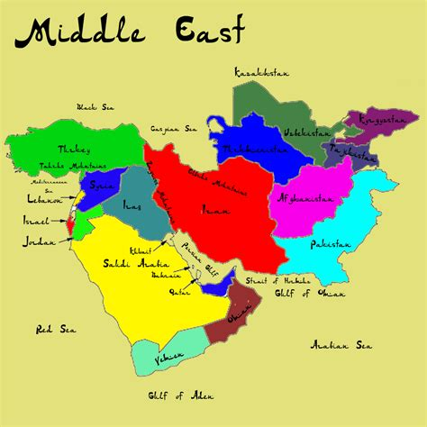 middle east map to color middle east countries and capitals