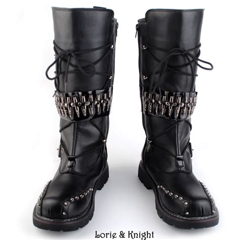 mens black leather motorcycle boots heavy metal rivet