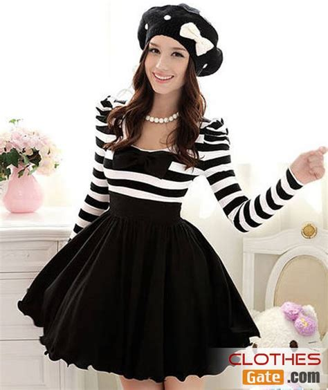 21898 Black Korean Stripe Dress korean black and white striped bow puff sleeve