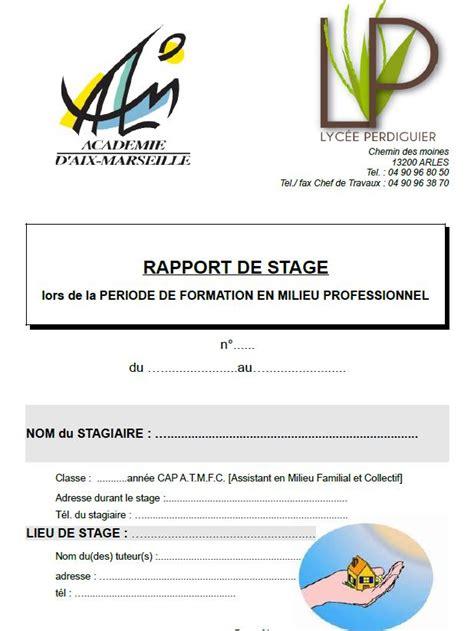 rapport de stage cuisine bac pro