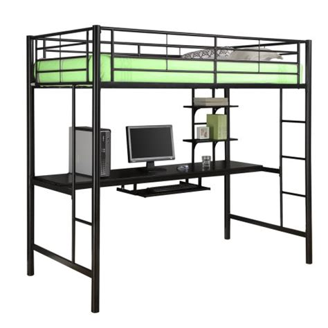 Metal Loft Beds With Desk Underneath White Metal Loft Bed With Desk