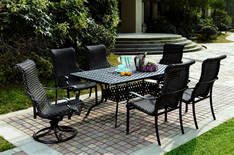 patio furniture wicker aluminum dining set 7pc