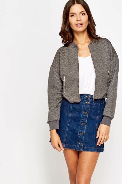 Bomber Crop Grey quilted cropped bomber jacket just 163 5