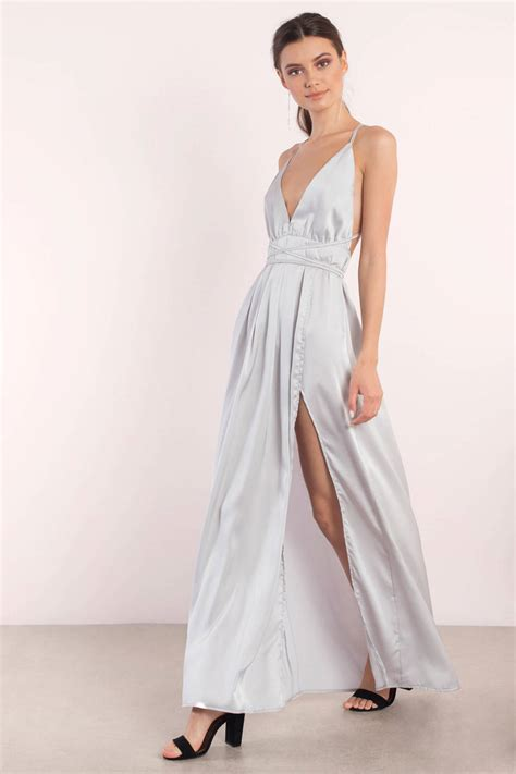 Dress Satin silver dress slit dress silver satin gown maxi