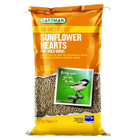 12 75kg gardman sunflower hearts wild bird food feed seed
