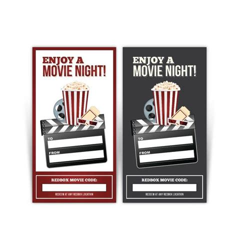 printable movie gift cards redbox gift card tag printable popcorn red black