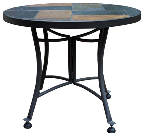 Outdoor Accent Table Outdoor Interiors Slate Accent Table With Metal Base Outdoor Side Tables Houzz