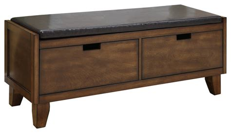 accent bench with storage bench 48 quot l dark walnut solid wood with 2 drawers