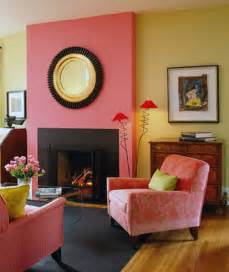 Coral Home Decor Fabric Pink Yellow Wall Color Living Room Home Paint