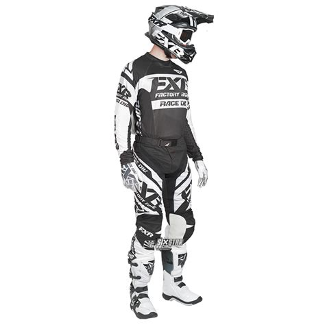 fxr motocross gear 2018 fxr racing revo mx jersey black white sixstar racing