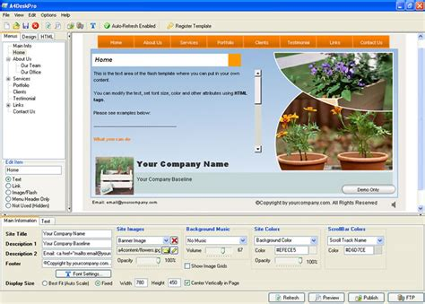 html design builder a4deskpro flash website builder 6 20 screenshots