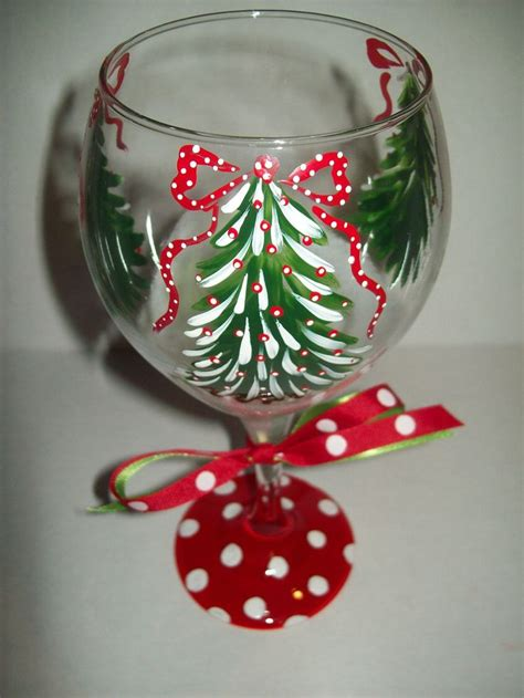 christmas tree wine glass holidays pinterest