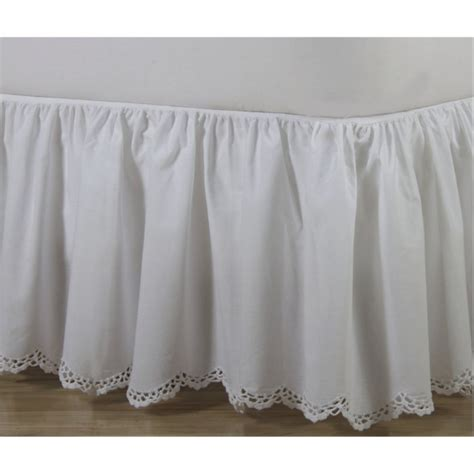 scalloped bed skirt crochet edge scalloped cotton bed skirt shopbedding com