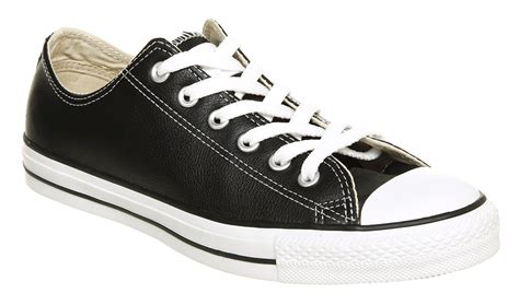 Converse Black Ox Low converse all leather ox low black leather in black