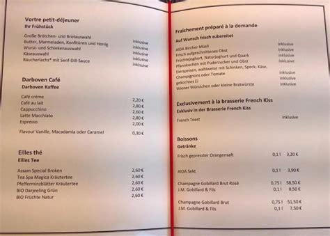 aidaprima casa speisekarte restaurant aida speisekarte fr 252 hst 252 ck und