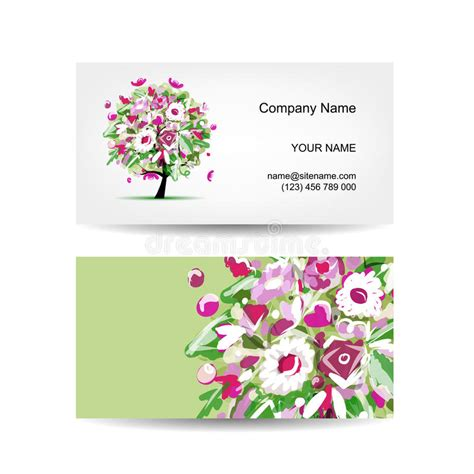 flower shop business card template free business card template design floral tree stock vector