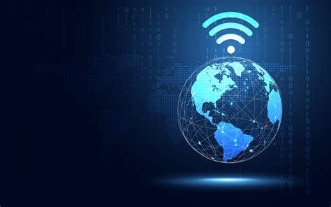 futuristic blue earth  wifi internet abstract