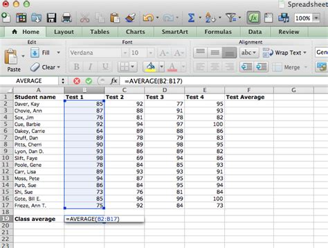 Average Spreadsheet by Excel Using Formulas And Functions For Calculations