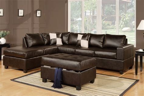 leather sectional living room furniture 3pc espresso black cream or burgundy bonded leather