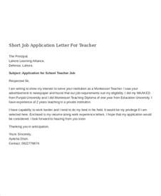 Sle Of Application Letter For Teaching application letter for templates 10 free