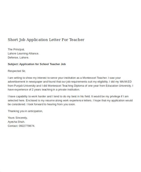 job application letter for teacher templates 10 free