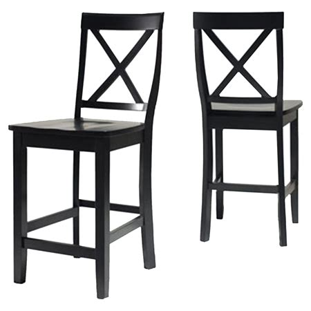24 Inch Bar Stool With Back X Back Bar Stool With 24 Inch Seat Height Black Set Of 2 Dcg Stores