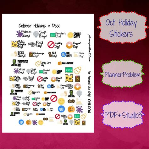 october printable planner stickers october holidays deco free printable planner stickers
