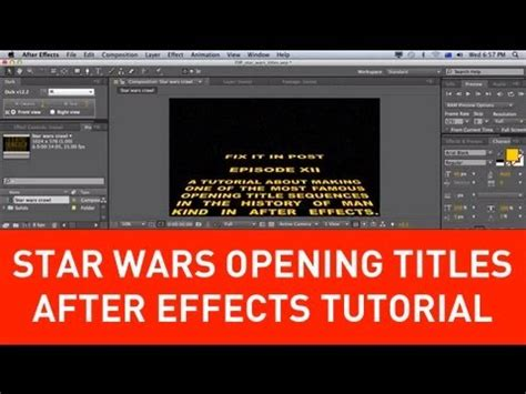 tutorial after effect title star wars opening title crawl tutorial in after effects