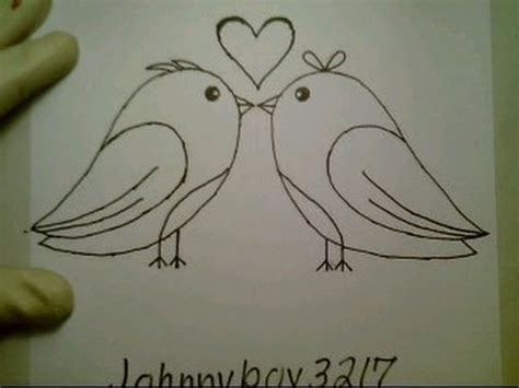 draw love birds  valentine day heart pictures