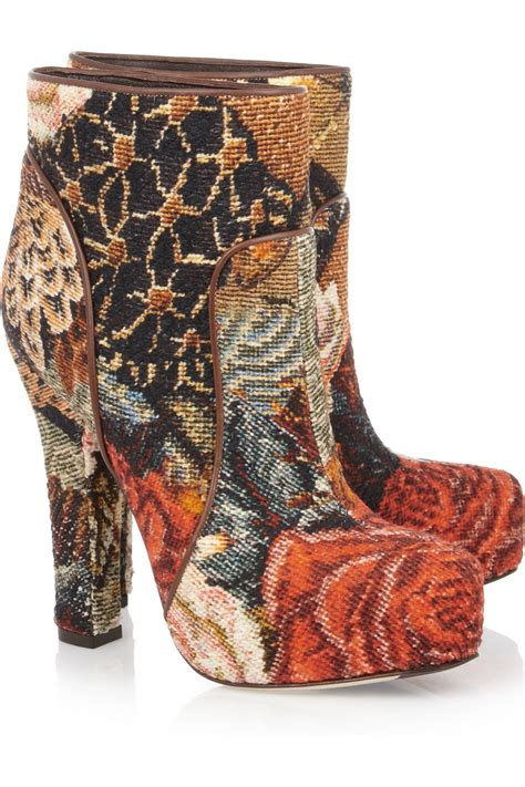 dolce gabbana tapestry ankle boots lyst