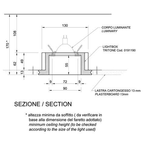 sezione controsoffitto 0191190 faretto per incasso plasterego your creative
