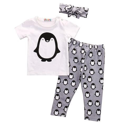 3pcs Newborn Baby Boys T 3pcs Clothing Set Lovely Toddler Newborn Baby Boy Penguins Clothes T Shirt