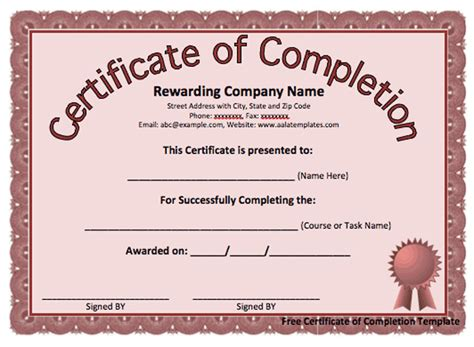 template of certificate of completion 13 certificate of completion templates excel pdf formats