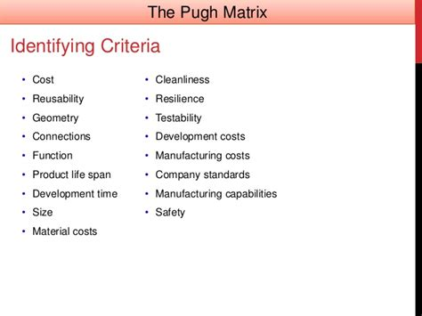 design criteria in civil engineering pugh matrix concept evaluation in design