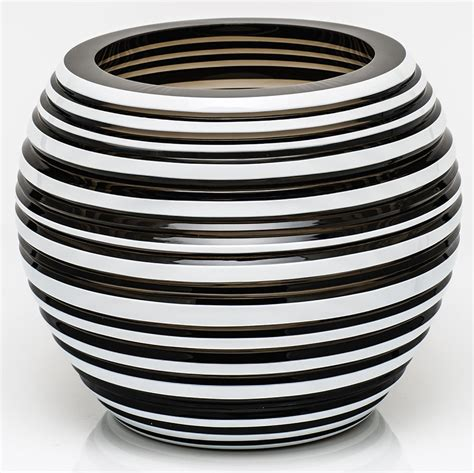 Horizontal Vase by Moser Stratis 7 Inch Horizontal Striped Vase Smoke White