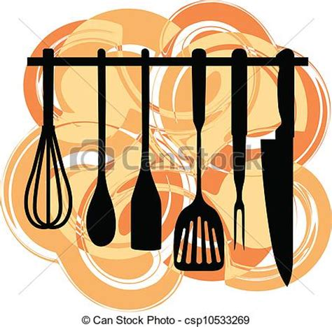 Rack of kitchen utensils clip art vector   Search Drawings