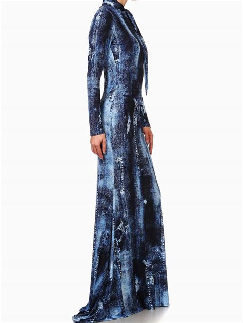 Denim Maxi Style denim printed knit mermaid style maxi dress modishonline