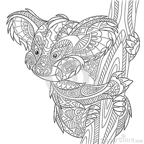 koala adults coloring book stress relief coloring book for grown ups books zentangle stylized koala stock vector image 70822461