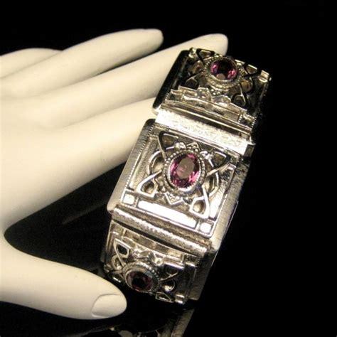 Rs Holder Purple With Purple Silver Rhinestones whiting davis silver plated engraved wide bracelet purple rhinestones vintage ebay