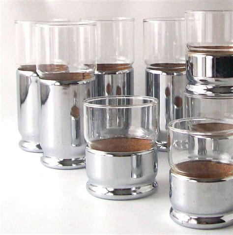 bar ware vintage chrome glassware silver cup coaster disco mid
