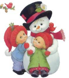 Two small kids playing with frosty the yup you guessed it