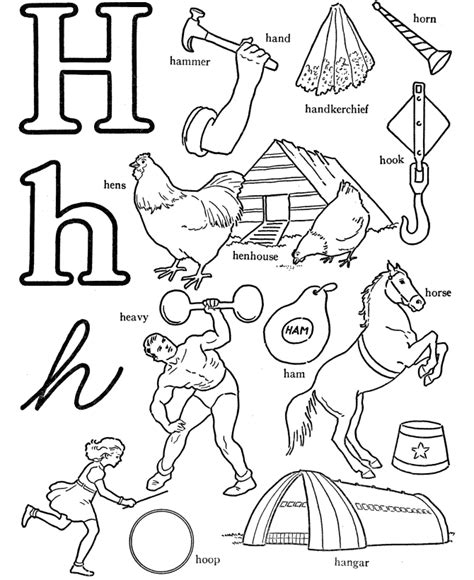 H For Coloring Page by Letter H Coloring Pages Coloring Home