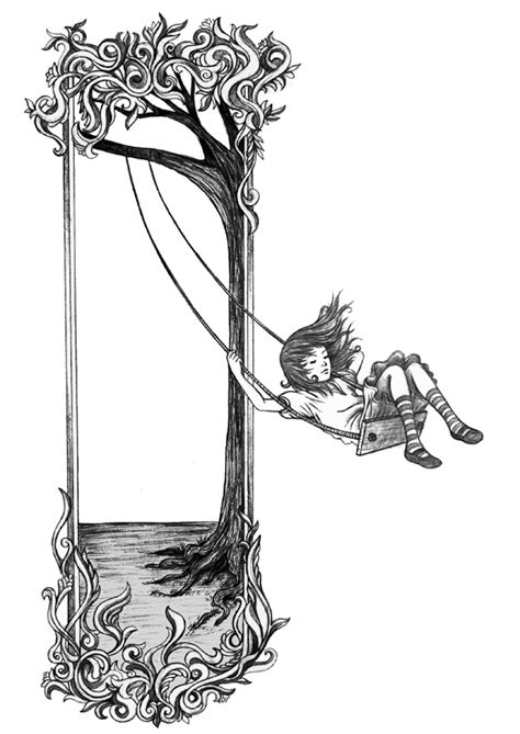 girl on a swing drawing girl on tree swing tattoo pinterest at the top dads
