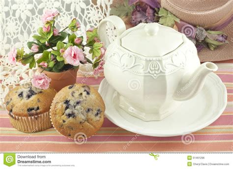 Mothers Day Cards Ideas Teapot With Blueberry Muffins Stock Photo Image 51461296