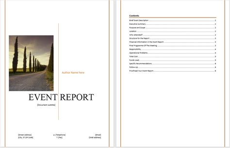 report format template word post event report template word gratitude41117