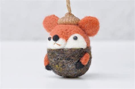 animal ornaments i make needle felted animal ornaments wearing tiny acorn