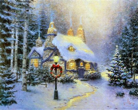 images of christmas paintings winter images thomas kinkade winter hd wallpaper and
