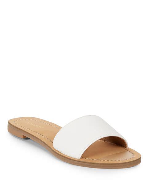white slide sandals nine west summers leather slide sandals in white for